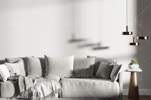 Livingroom Mockup Wall and Pillows