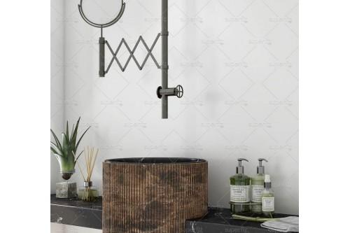 mockup de baño con pared blanca