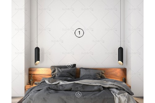 Wall mockup bedroom scene