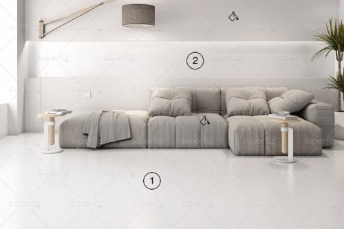 mockup de salón con pared y suelos blancos