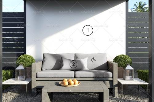 mockup de área externa com parede branca