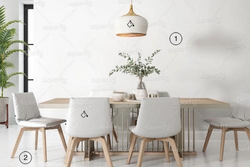 mockup de sala de estar para trocar parede e chão
