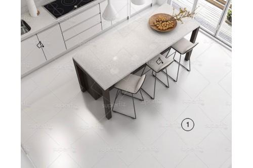 mockup cozinha chão branco
