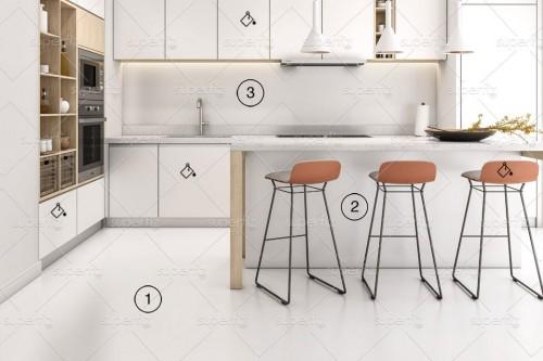 mockup de cocina suelo y pared blanco