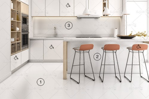 mockup cozinha chão e parede branco