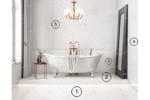 bathroom mockup Wall and floor blank