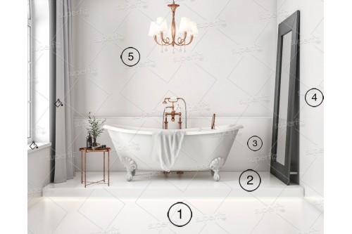 mockup de baño suelo y pared blanco