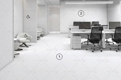 mockup de oficina con suelo y pared blanco