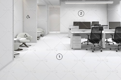 office mockup blank Wall and floor