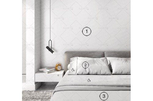 mockup de dormitorio con pared blanca