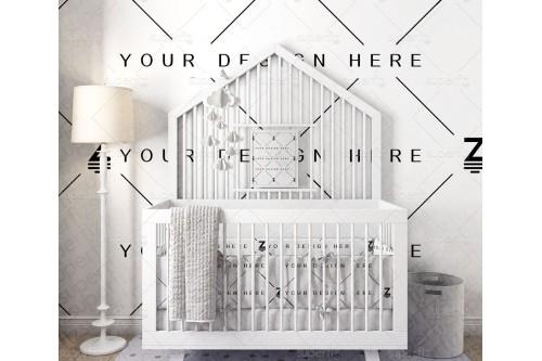 Mockup de Dormitorio de Bebé para cambiar la superficie de la pared SM114-2